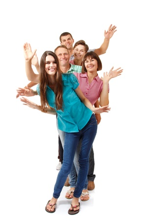 Happy large caucasian family having fun and smiling, full length portrait over white background photo