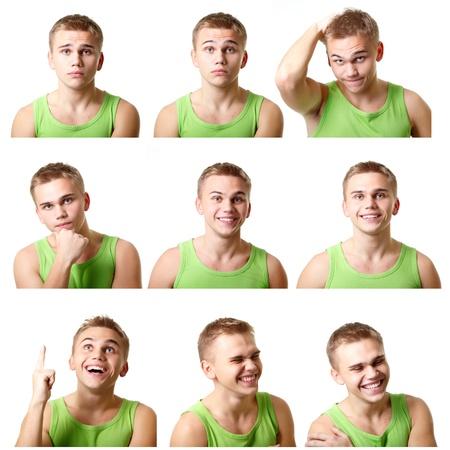 gezichts uitdrukkingen: jonge man emotionele gezichten, uitdrukkingen die over witte achtergrond