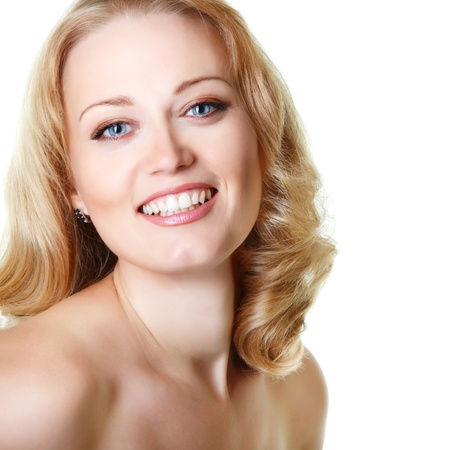 beautiful woman looking at camera, mid adult female face closeup, isolated on white background photo