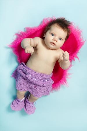 1 2 month: cute infant baby girl, beautiful kids full length portrait, studio shot