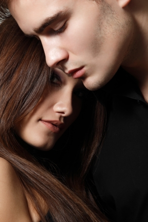 Sexy passion couple, beautiful young man and woman closeup, studio shot Stock Photo - 18628984