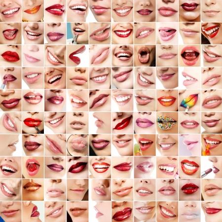 labios sexy: Los labios de la chica perfecta. Colecci�n de los labios de 100 hermosa mujer con l�piz de labios maquillaje de color. Conjunto de sonrisas femeninas sobre fondo blanco