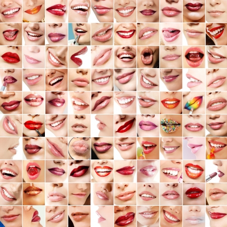 Perfect girls lips. Collection of 100 beautiful womans lips with colour makeup lipstick. Set of female smiles over white background  photo