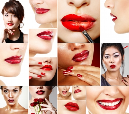 Perfect red female lips set. Beautiful asian, african and caucasian women with red lipstick. photo