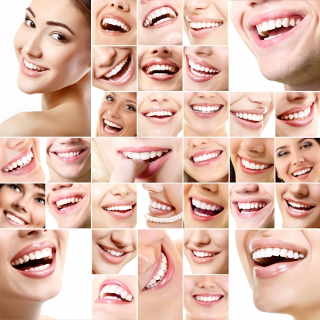 Perfect smiles. Collection of beautiful wide human smiles with great healthy white teeth. Isolated over white background  photo