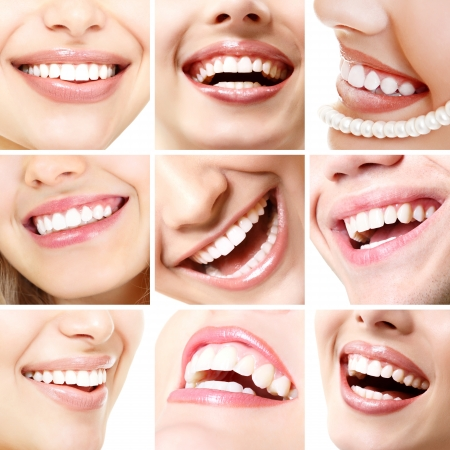 Perfect smiles. Collection of beautiful wide human smile with great healthy white teeth. Set isolated over white background  photo