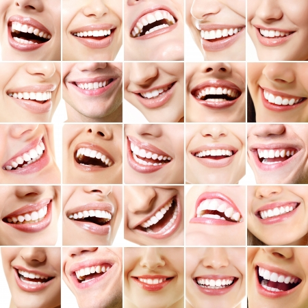 Perfect smiles. Set of 25 beautiful wide human smiles with great healthy white teeth. Isolated over white background  photo