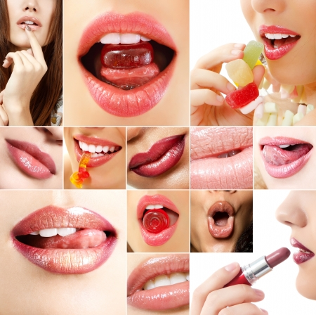 sexy lips: Sexy lips. Set of beautiful womens lips. Isolated over white background