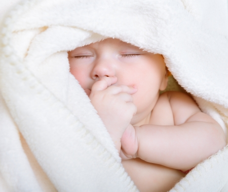 1 2 month: cute sleeping baby boy, beautiful infant face closeup