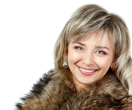 seasonal portrait of cheerful mid adult woman in fur, attractive caucasian 40 years old woman over white photo