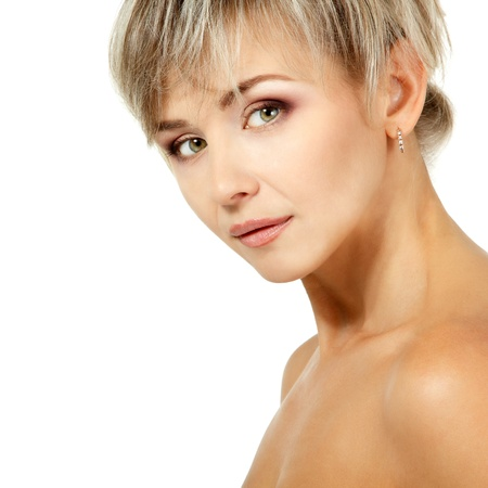 smiing: mid adult woman portrait, face of attractive caucasian middle 40 years old woman over white