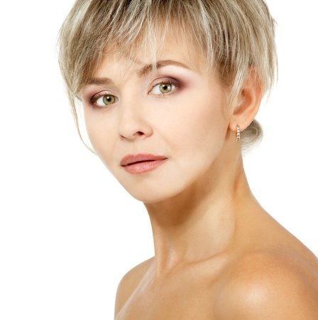 smiing: attractive mid adult woman, female face of beautiful caucasian middle 40 years old over white Stock Photo