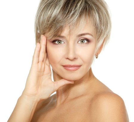beautiful lady: mid adult woman portrait, face of attractive caucasian middle 40 years old woman over white