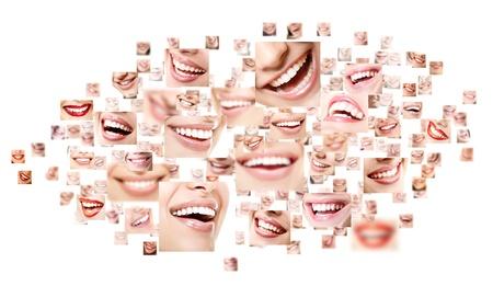 collage caras: Sonrisas perfectas collage. Colección de hermosas sonrisas humanos amplios con grandes dientes blancos sanos. Aisladas más de fondo blanco