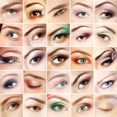 Eyes set. Collage of beautiful female eyes with makeup. Isolated over white background  photo