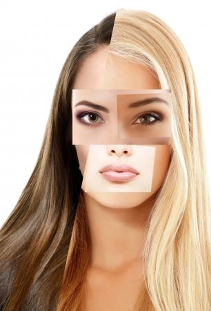 collage caras: concepto de belleza collage de rostros hermosos mixtos mujer, sobre fondo blanco
