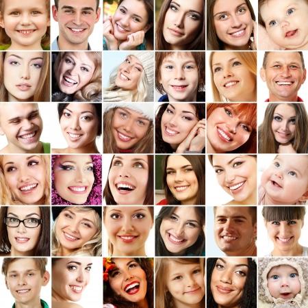 collage caras: Collage de caras sonrientes. Colección de hermosos rostros humanos con amplias sonrisas y grandes dientes blancos y sanos. Aislado sobre fondo blanco