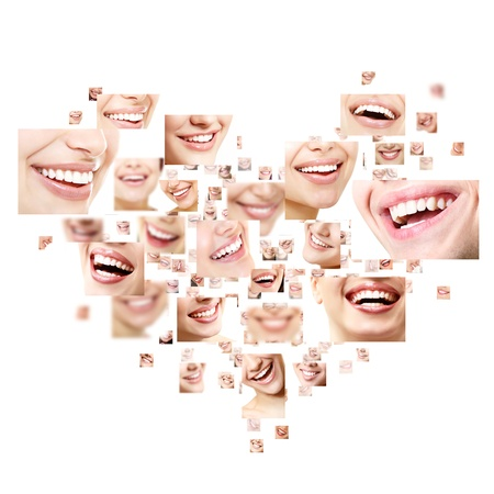 Heart collage of perfect smiles. Set of beautiful wide human smiles with great healthy white teeth. Isolated over white background  photo