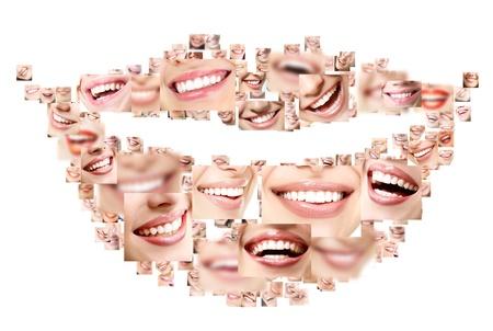 完璧な笑顔の顔のクローズ アップのコラージュを笑顔します。偉大な健康な白い歯と笑顔広い人間の概念のセットです。白い背景の上の分離