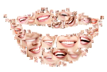 dentistry: Smile collage of perfect smiling faces closeup. Conceptual set of beautiful wide human smiles with great healthy white teeth. Isolated over white background