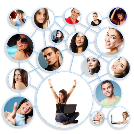 networking: Happy young woman with her social network friends and business partners in a circle diagram, over white Stock Photo