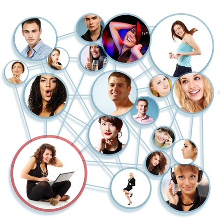Happy young woman with her social network friends and business partners in a circle diagram, over white photo