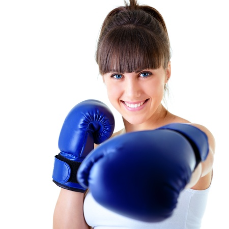 woman boxing gloves: sport young woman happy smiling in boxing gloves, face of fitness girl studio shot over white background Stock Photo