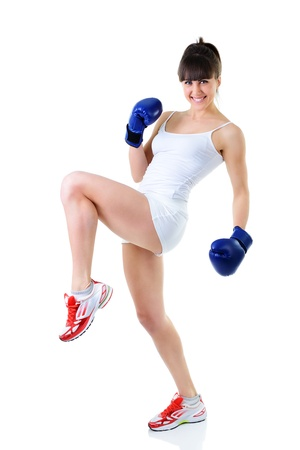 sport young woman with perfect body in boxing gloves, fitness girl studio shot over white background photo