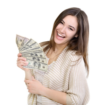 european money: Cheerful attractive young lady holding cash and happy smiling over white background