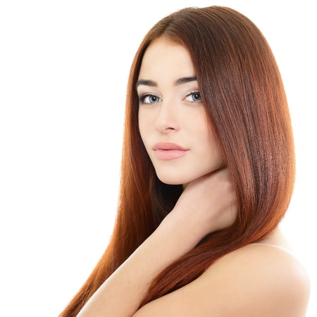 beauty girl portrait, young beautiful woman portrait with clean skin and long red hair, over white studio shot photo
