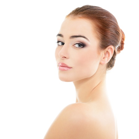 beauty girl portrait, young beautiful woman portrait with clean skin, face closeup over white studio shot photo