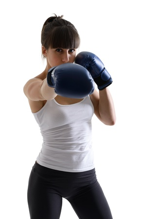 sport girl doing with exercise with boxing gloves, fitness woman studio shot in silhouette technique over white background Stock Photo - 19758661