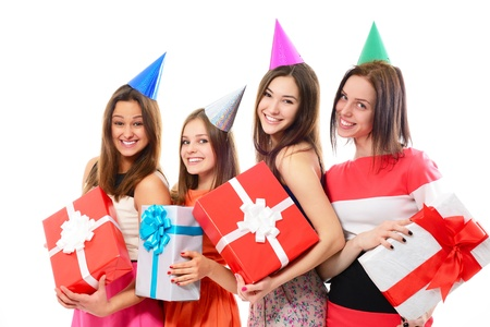 hedonistic: Joyful happy smiling teen girls have fun on birthday party, over white Stock Photo