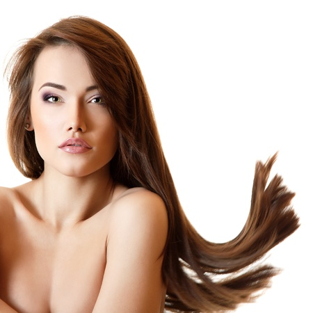 young beautiful woman with perfect long brown hair, girl looking at camera over white photo