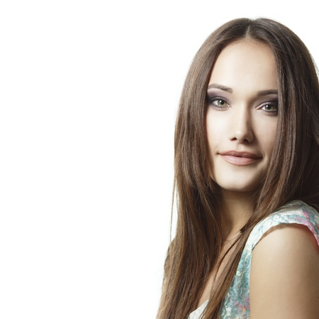 women face stare: young beautiful woman cheerful looking at camera isolated on white background