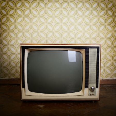 room wallpaper: retro tv with wooden case in room with vintage wallper and parquet