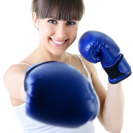 woman boxing gloves: sport young woman boxing gloves, face of fitness girl studio shot over white background