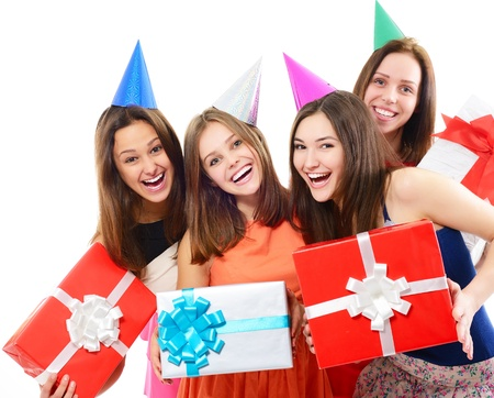 hedonistic: Joyful happy smiling young women have fun on birthday party, over white