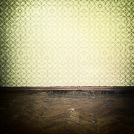 old fashioned: Vintage room, empty retro apartment with old fashioned wallpaper and weathered wooden parquet floor, toned