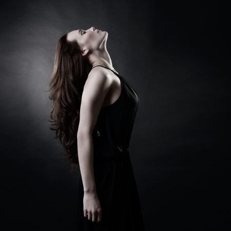 Young woman with beautiful long brown hair posing at studio, profile over black background, toned Stock Photo - 20081405