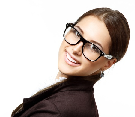 portrait of attractive business woman with glasses, isolated on white, studio  photo