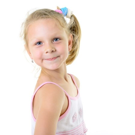 cute cheerful  little girl portrait, isolated on white backgroud photo