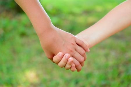 kids holding hands: hands of children friends, summer nature outdoor