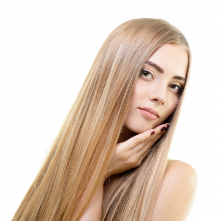 blond hair: Hair. Beautiful bond girl with healthy long hair. Haicare and hairstyle. Stock Photo