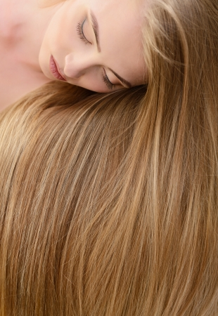 long blonde hair: Hair. Beautiful bond girl with healthy long hair. Haicare and hairstyle. Stock Photo