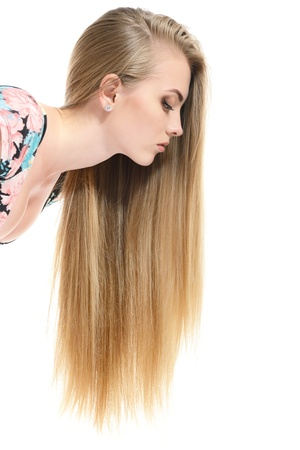 long neck: Hair. Beautiful bond girl with healthy long hair. Haicare and hairstyle. Stock Photo