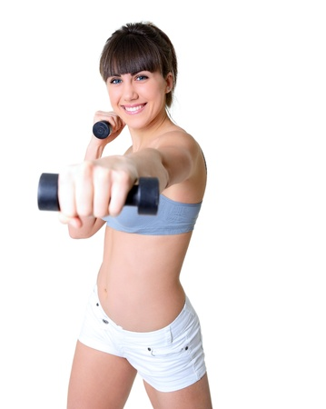 sport girl doing exercise with dumbbells, fitness young woman studio shot over white background Stock Photo - 21877806