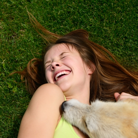 tickling: beautiful young happy laugh girl playing with her dog outdoor Stock Photo