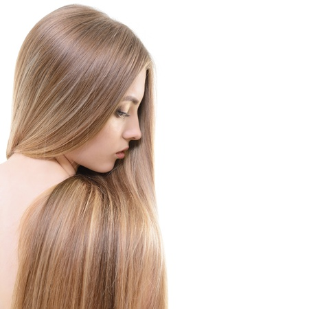 light hair: Hair. Beautiful bond girl with healthy long hair. Haicare and hairstyle. Stock Photo