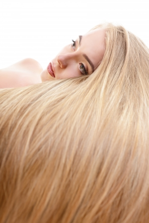 Hair. Beautiful bond girl with healthy long hair. Haicare and hairstyle. photo